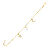 Gold CZ X Pearl Charms Bracelet - Adina's Jewels