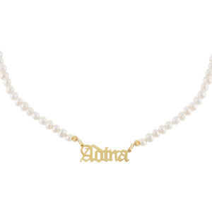 Gold Gothic Pearl Nameplate Necklace - Adina's Jewels