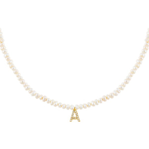 Pearl White / A CZ Initial Pearl Necklace - Adina's Jewels