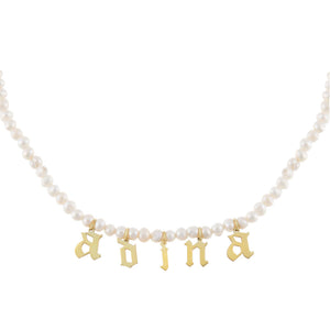 Gold Gothic Pearl Name Choker - Adina's Jewels