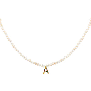 Multi-Color CZ Rainbow Initial Pearl Necklace - Adina's Jewels