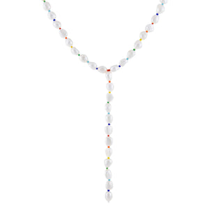Pearl White Multi Color Pearl Lariat - Adina's Jewels