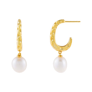 Pearl White Pearl Textured Hoop Earring - Adina's Jewels