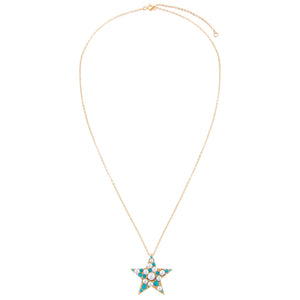 Pearl X Turquoise Star Necklace - Adina's Jewels