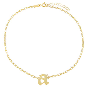 Gold / A Gothic Initial Link Anklet - Adina's Jewels