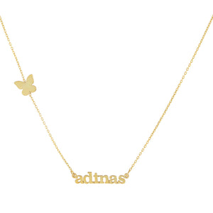 Gold Mini Lowercase Butterfly Nameplate Necklace - Adina's Jewels