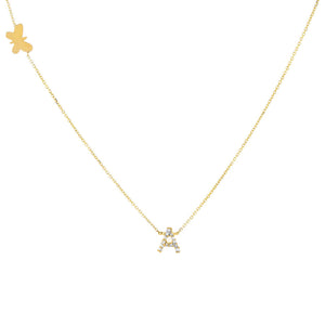 14K Gold Diamond Initial X Butterfly Necklace 14K - Adina's Jewels