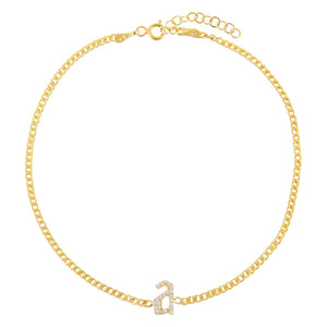 Gold Pavé Gothic Lowercase Initial Anklet - Adina's Jewels