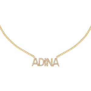 Gold Pavé Block Nameplate Necklace - Adina's Jewels
