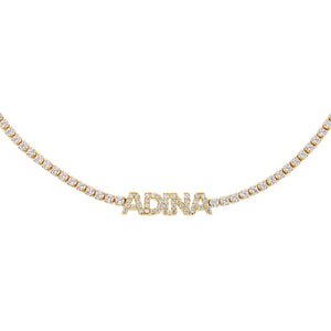 Gold Mini Nameplate Tennis Choker - Adina's Jewels