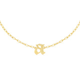 Gold / A Gothic Initial Link Choker - Adina's Jewels