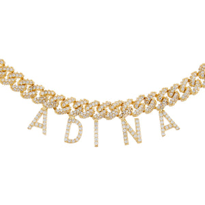 Gold Block Name Pavé Chain Link Choker - Adina's Jewels