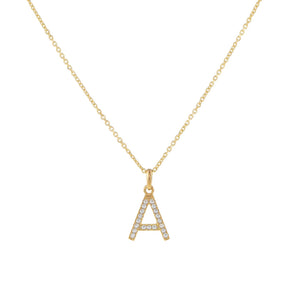 14K Gold / Cable Chain Topaz Initial Necklace 14K - Adina's Jewels