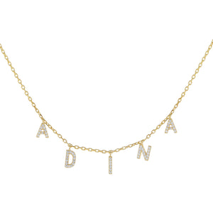 Gold Mini Pavé Block Name Necklace - Adina's Jewels