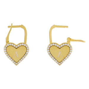Gold Engraved Pavé X Solid Heart Huggie Earring - Adina's Jewels