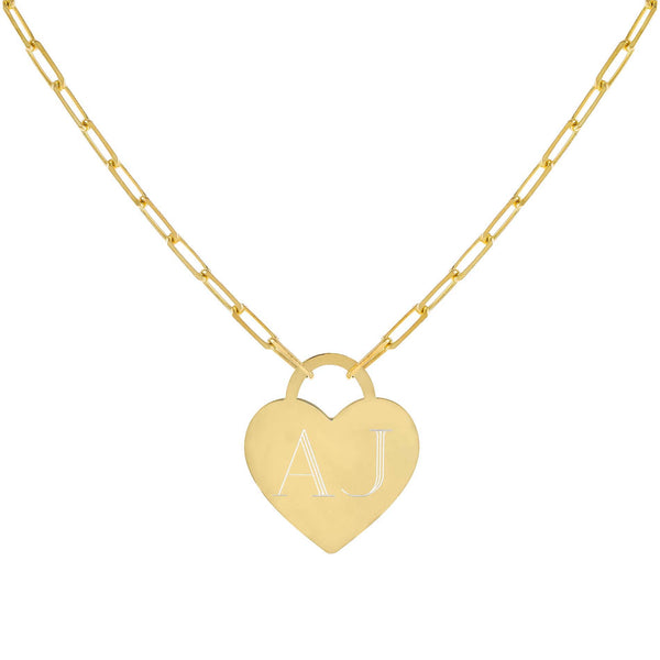 Gold Engraved Heart Link Necklace - Adina's Jewels