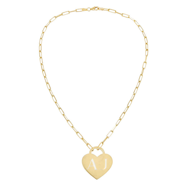 Engraved Heart Link Necklace - Adina's Jewels