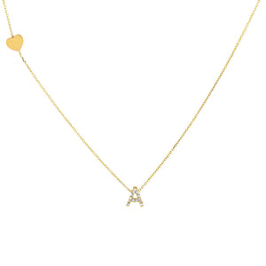 14K Gold Diamond Initial X Heart Necklace 14K - Adina's Jewels
