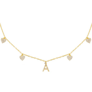 Gold / A Pavé Initial Multi Heart Necklace - Adina's Jewels