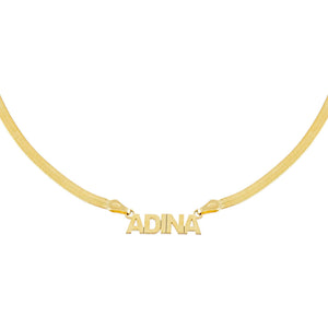 Gold Mini Nameplate Herringbone Necklace - Adina's Jewels