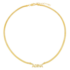 Mini Nameplate Herringbone Necklace - Adina's Jewels