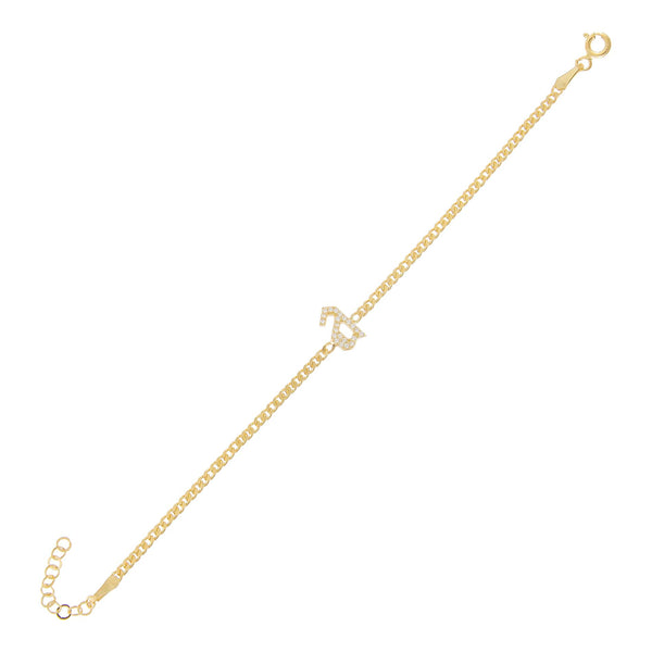 Gold Pavé Gothic Lowercase Initial Bracelet - Adina's Jewels