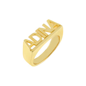 Gold / 5 Block Letter Nameplate Ring - Adina's Jewels