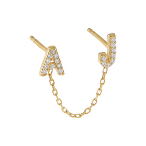 Gold Mini Pavé Double Initial Chain Stud Earring - Adina's Jewels