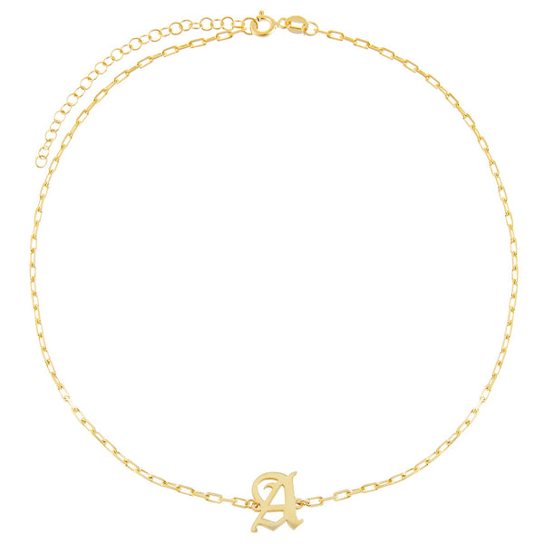 Old English Initial Open Link Choker - Adina's Jewels