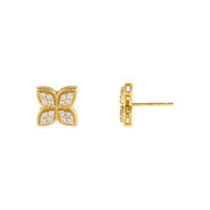 Gold CZ Flower Stud Earring - Adina's Jewels