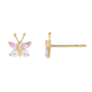 14K Gold CZ Pink Butterfly Stud Earring 14K - Adina's Jewels
