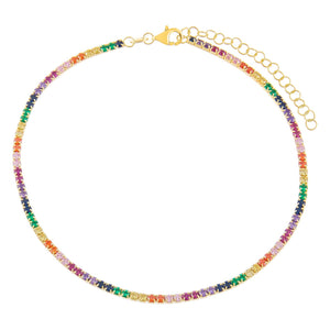 Combo Rainbow Tennis Anklet - Adina's Jewels
