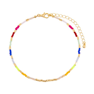 Multi-Color Neon Multi Beaded Anklet - Adina's Jewels