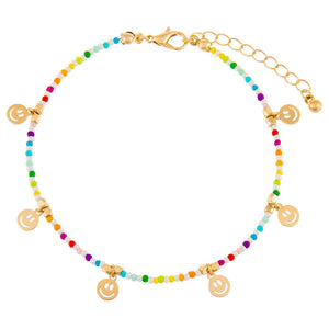 Multi-Color Rainbow Smiley Face Beaded Anklet - Adina's Jewels
