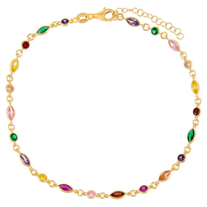 CZ Bezel Colored Marquise Anklet