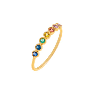 Multi-Color / 6.5 Diamond Multi Color Bezel Ring 14K - Adina's Jewels