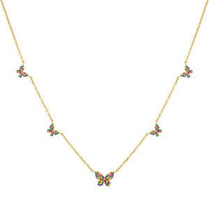 Multi-Color Pavé Rainbow 5 Butterfly Necklace - Adina's Jewels