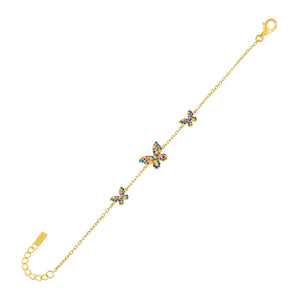 Multi-Color Pavé Rainbow Triple Butterfly Bracelet - Adina's Jewels