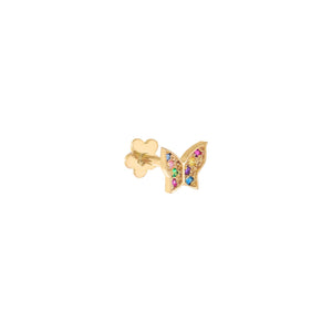Multi-Color / Single CZ Rainbow Butterfly Threaded Stud Earring 14K - Adina's Jewels