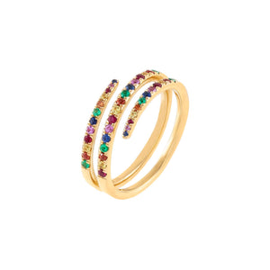 Multi-Color Multi-Color Diamond Wrap Ring 14K - Adina's Jewels