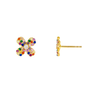 Multi-Color CZ Mini Rainbow Flower Stud Earring - Adina's Jewels