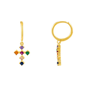 Multi-Color CZ Rainbow Cross Huggie Earring - Adina's Jewels