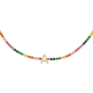Multi-Color Uppercase Initial Rainbow Tennis Choker - Adina's Jewels