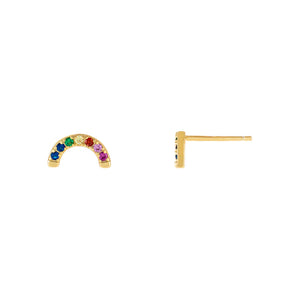 Multi-Color CZ Rainbow Half Circle Stud Earring - Adina's Jewels
