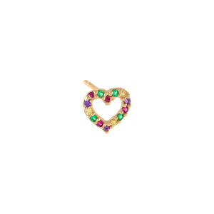 Multi-Color CZ Rainbow Open Heart Stud Earring 14K - Adina's Jewels