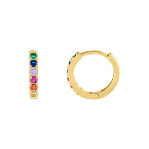 Multi-Color CZ Mini Rainbow Huggie Earring - Adina's Jewels