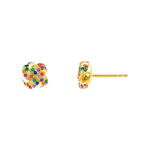 Multi-Color CZ Knot Stud Earring - Adina's Jewels