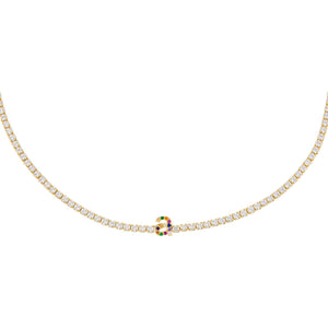 Multi-Color CZ Rainbow Lowercase Initial Tennis Choker - Adina's Jewels
