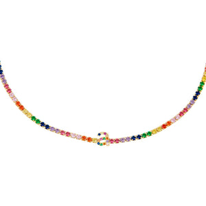 Multi-Color Rainbow Lowercase Initial Tennis Choker - Adina's Jewels