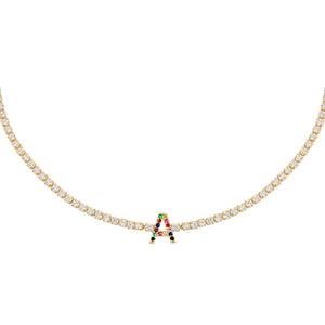 Multi-Color / A CZ Rainbow Uppercase Initial Tennis Choker - Adina's Jewels